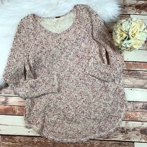 Free People pink multi colored knit sweater