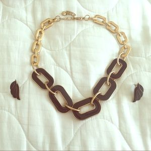 Black & gold necklace with matching earrings