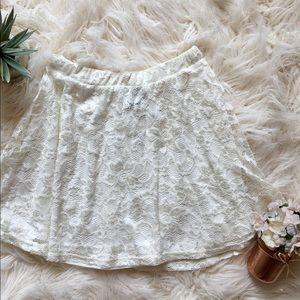 NWOT Asos: Cream Lace Skater Skirt