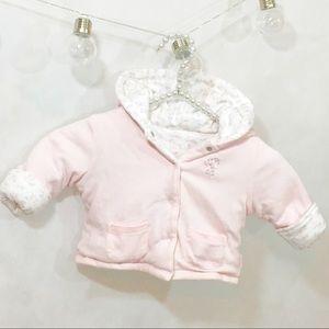 Little Me Reversible Pink & White Hooded Coat 12m