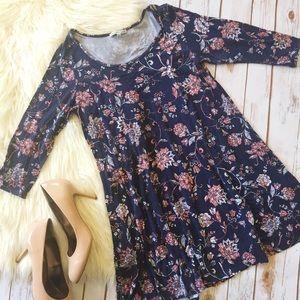 Charlotte Russe navy floral tshirt dress