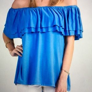 Tops - NEW Blue Ruffle Off-Shoulder Top