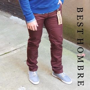 Best Hombre Fashion Pants - HP! Slim Chino Pants - Burgundy