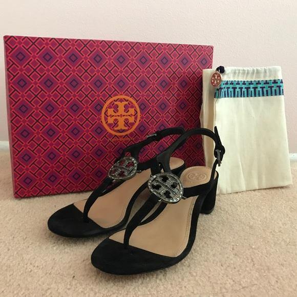 f54868c6b Tory Burch Violet Soho Luxe Suede Sandal Black 5.5.  M 59b5c5594225beb947062d18