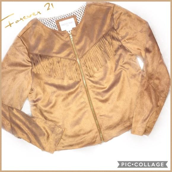 Forever 21 Other - Forever 21 Girl's Tan Fringe Zip Jacket 9/10