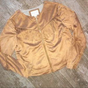 Forever 21 Jackets & Coats - Forever 21 Girl's Tan Fringe Zip Jacket 9/10