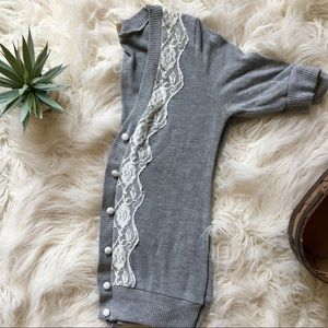 Grey Button Up Cardigan with Lace Detail