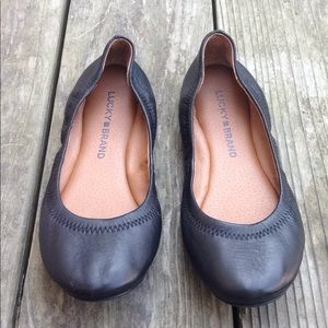 """Lucky 🍀 Brand """"Emmie"""" Leather Flats, Black Size 5"""