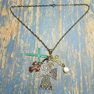 Jewelry - Multi colored western style cross necklace
