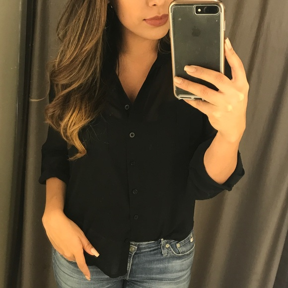 Tops - Black button up top