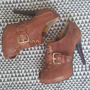 Cognac Lace-Up High Heel Ankle Booties