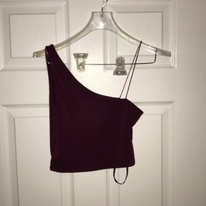 Plum off shoulder top