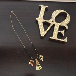 Jewelmint Black and gold Tribal necklace