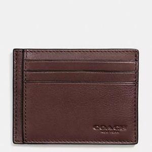 NWT Coach Slim Card Case in Sport Calf Leather