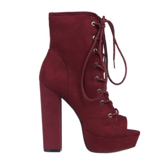 0d1d32f2 Burgundy Lace Up Peep Toe Boots NWT