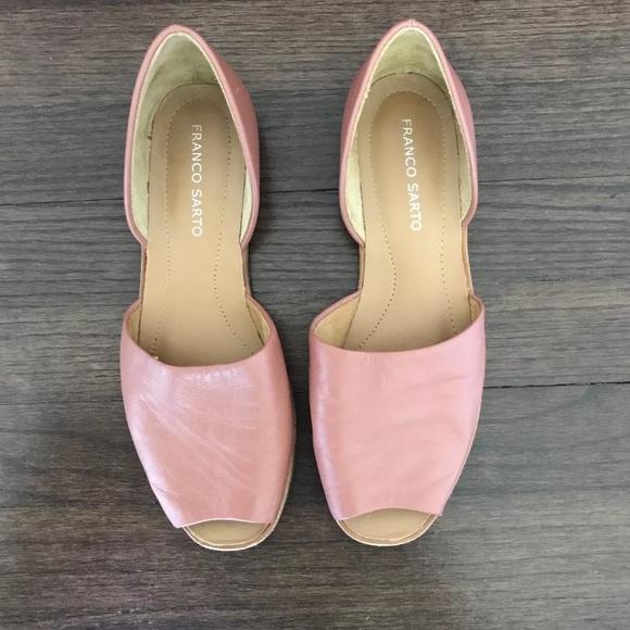 370d9577584 Franco Sarto Shoes - New Franco Sarto Venezia Leather Peep Toe Flat