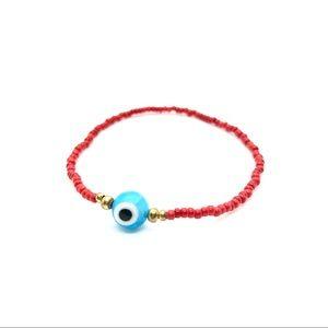 Jewelry - Red and Aqua Evil Eye Bracelet, bohemian, handmade