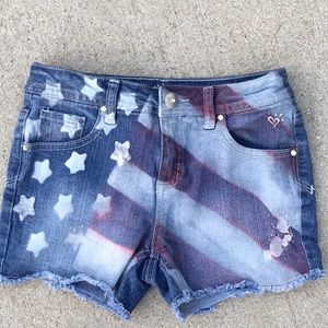 Justice sz 12 red white blue flag shorts NWOT
