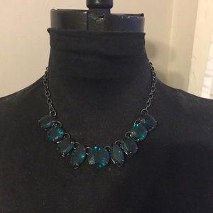 Jewelmint, Gunmetal and Green Statement Necklace