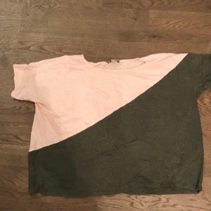 Anthropologie cropped color block tee