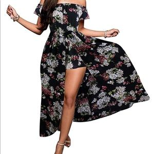 Women's Off Shoulder Floral Split Maxi Romper