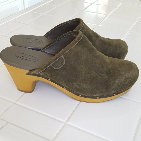 Olive Green Suede Clogs American Eagle