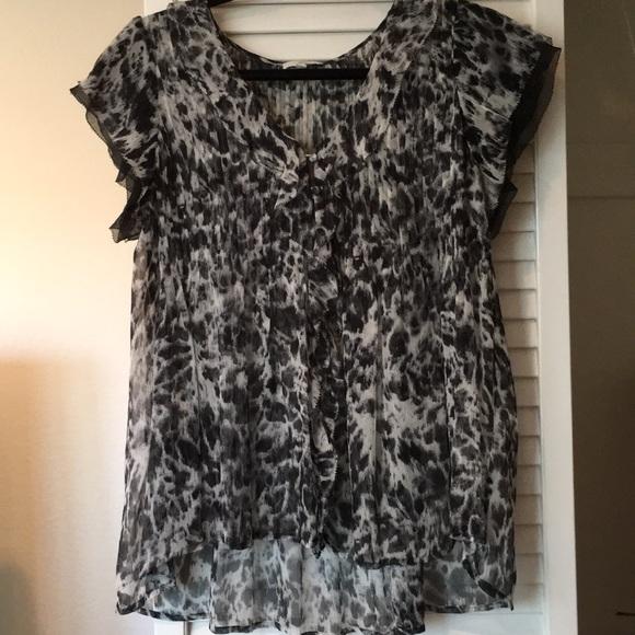 5b179b2e56efa5 Joie Tops - Joie Gray Black Leopard Silk Blouse Size XS