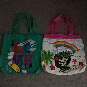 Handbags - 2x Totes Hawaiian Hula Girl & Loyal Army I Love LA