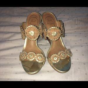 Jack rogers gold & cork size 7 Luccia wedge sandal