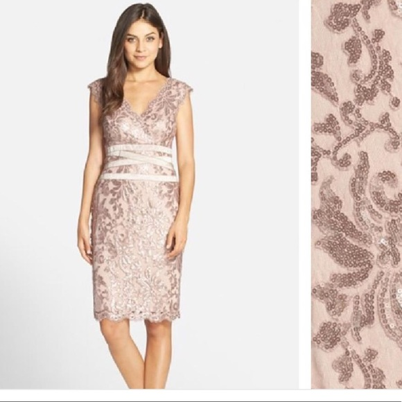 Tadashi Shoji Dresses   Sequin Rose Gold Dress   Poshmark