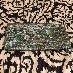 Multi color sequin fold over clutch BCBGeneration