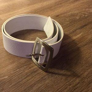 Calvin Klein white leather belt