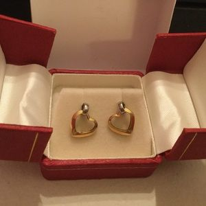 Other - 14K Dangling Heart Earrings for Young or  Teens