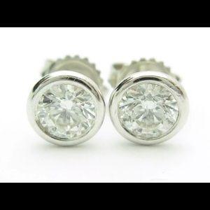 Jewelry - 1.5CT F,SI1 Diamond Bezel Stud Earrings 14k W Gold