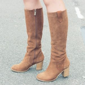 DUO Ted & Muffy Suede Stacked Riding Boots