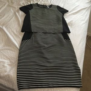 Kensie Black and White Striped Top and Skirt Set
