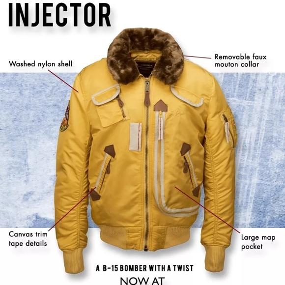 premium selection 3a346 8dda9 Alpha Industries Injector X Flight Jacket Yellow NWT