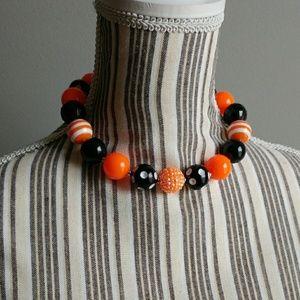 Jewelry - Orange and Black Bead Necklace