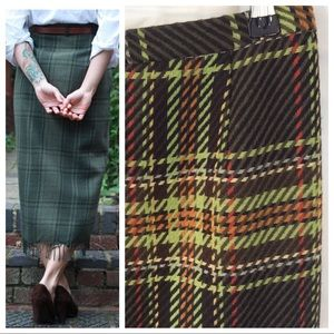 Plaid Tweed Fringe Skirt