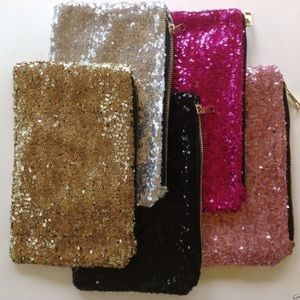 Hot pink oversized sequined party clutch NYE BAG!!