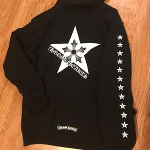 aa2a53f6ef8 Chrome Hearts Tops - Chrome Hearts five point star hoodie - large