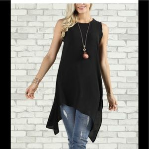 Tops - PLUS Black Asymmetrical-Hem Tunic -  Suzanne Betro