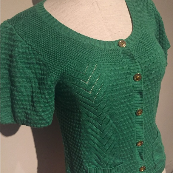 Juicy Couture - Juicy Couture Kelly green short sleeve cardigan ...