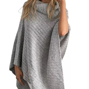 Gray grey turtleneck poncho knitted soft cape