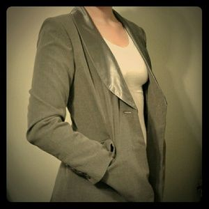 Gray Blazer with Satin Lapel