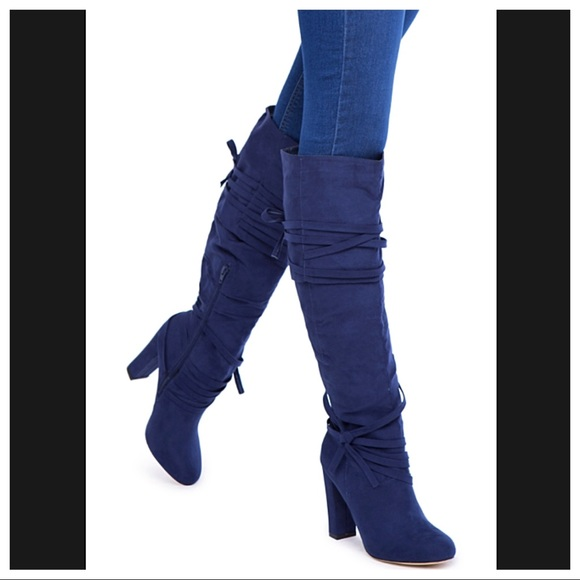 431a08d0a46  ShoeDazzle  Blue Over the Knee Chunky Heel Boots