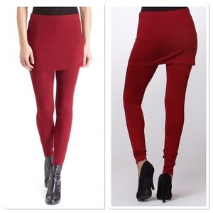 Burgundy Skirted Leggings
