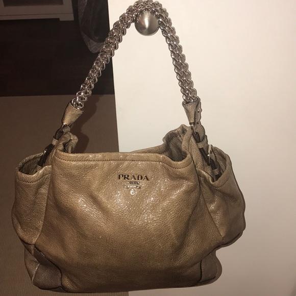 59e149370581 ... coupon for prada shiny gray slouch bag with chain strap. fd5f9 1cbf2 ...