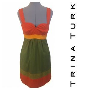 Colorblock Trina Turk Dress Orange Green Sz 2 NWOT