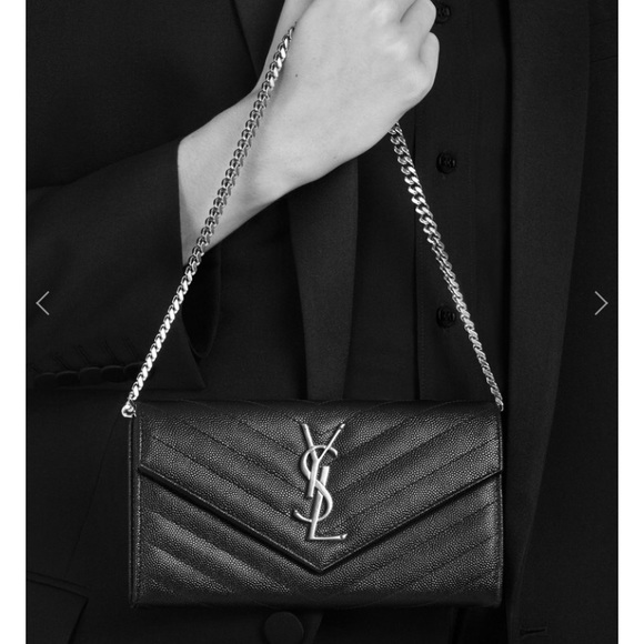 4bbba24c1eb2 Authentic YSL black classic wallet on short chain.  M 59b5f68a36d594d8e20732c4